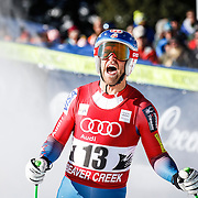 SHOT 12/4/15 11:16:49 AM - American skier Steven Nyman reacts to his run in the finish area at the 2015 Audi Birds of Prey Downhill at Beaver Creek Ski Resort in Beaver Creek, Co. Birds of Prey is the only men's Audi FIS Ski World Cup stop in the United States. Nyman finished 15th with a time of 1:43.90. (Photo by Marc Piscotty / © 2015)
