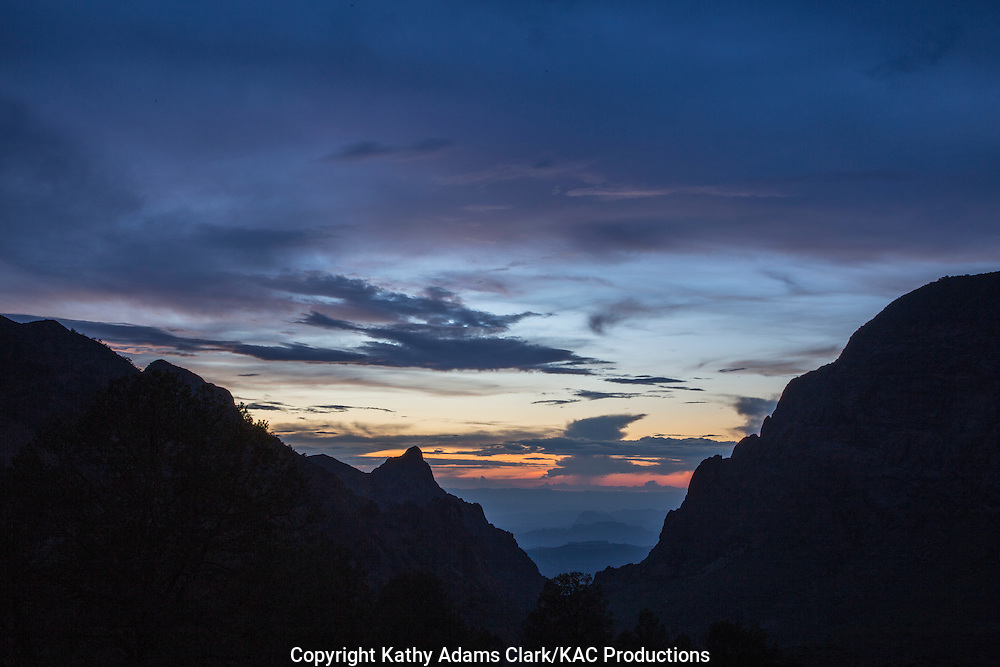 The Window formation as seen from the Chisos Basin at Big Bend National Park at sunset in late summer.