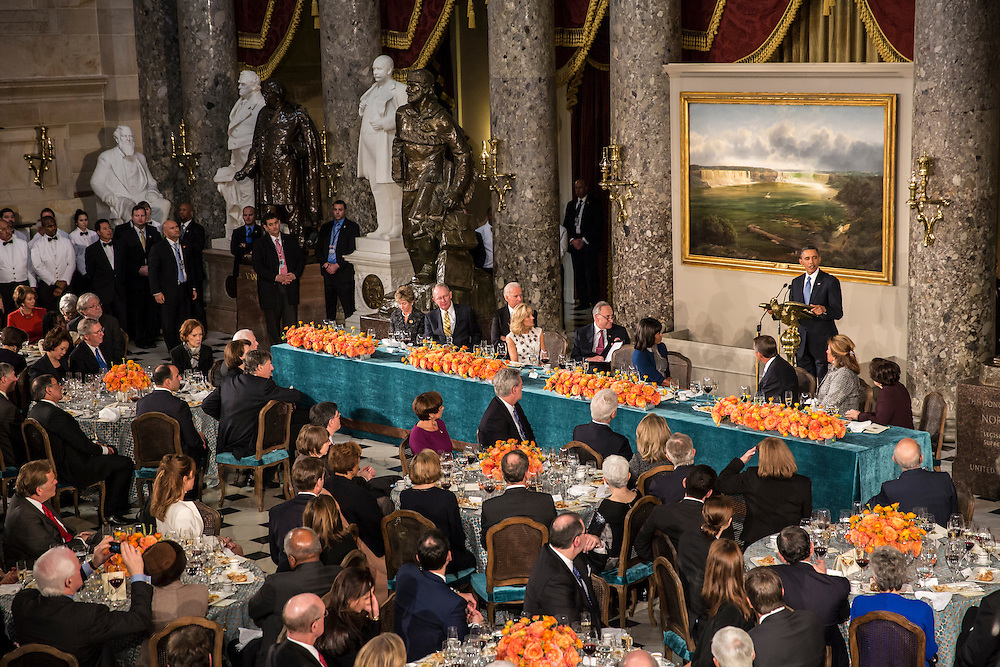 President Barack Obama speaks at the Inaugural Luncheon in Statuary Hall at the U.S. Capitol on Monday, January 21, 2013 in Washington, DC.