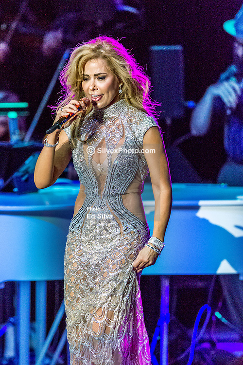 """LOS ANGELES, CA - AUGUST 21: Mexican music diva Gloria Trevi kicked off her El Amor World Tour at the iconic Greek Theatre with material off her new DVD """"El Amor"""". She performed with a full orchestra a phenomenal show at the Greek Theatre on August 21, 2015 in Los Angeles, California. Byline, credit, TV usage, web usage or linkback must read SILVEXPHOTO.COM. Failure to byline correctly will incur double the agreed fee. Tel: +1 714 504 6870."""