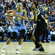 Chicago Sky Forward ELENA DELLE DONNE (11) attempts a shot as New York Liberty Center AVERY WARLEY-TALBERT (7) defends in the first period of a WNBA preseason basketball game between the Chicago Sky and the New York Liberty Sunday, May. 01, 2016 at The Bob Carpenter Sports Convocation Center in Newark, DEL