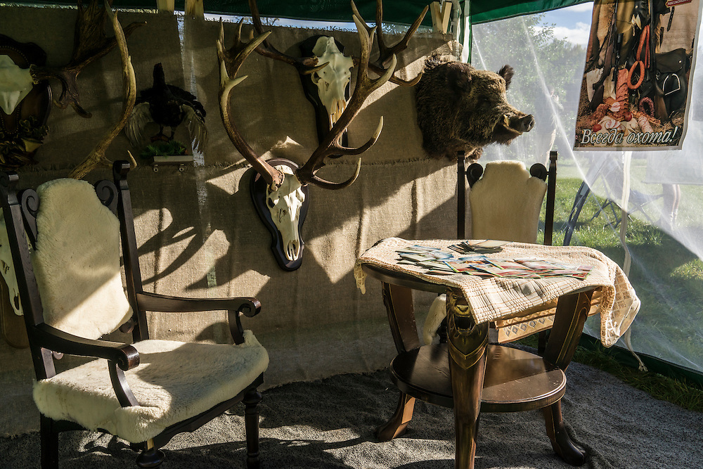 Taxidermied animals at a hunting festival near the Augustów Canal on Saturday, September 17, 2016 in Grodno, Belarus.