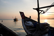 a fishing boat returns to port at dawn, Teluk Bahang, Penang, Malaysia