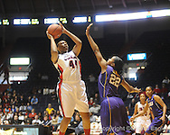 "Ole Miss's Katorra Lewis (44) vs. LSU's Courtney Jones (22) on Sunday, January 17, 2010 at the C.M. ""Tad"" Smith Coliseum in Oxford, Miss."