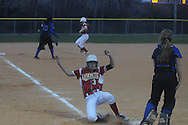 Oxford High vs. Lafayette High's Tori Blackburn scores in softball in Oxford, Miss. on Tuesday, March 6, 2012. Lafayette High won.