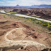 SHOT 10/14/16 4:07:12 PM - Mountain bikers ride the White Rim Trail along the Green River in Utah. The White Rim is a mountain biking trip in Canyonlands National Park just outside of Moab, Utah. The White Rim Road is a 71.2-mile-long unpaved four-wheel drive road that traverses the top of the White Rim Sandstone formation below the Island in the Sky mesa of Canyonlands National Park in southern Utah in the United States. The road was constructed in the 1950s by the Atomic Energy Commission to provide access for individual prospectors intent on mining uranium deposits for use in nuclear weapons production during the Cold War. Four-wheel drive vehicles and mountain bikes are the most common modes of transport though horseback riding and hiking are also permitted.<br /> (Photo by Marc Piscotty / &copy; 2016)