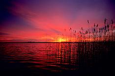 Sunset and sunrise in Wijdemeren, Netherlands