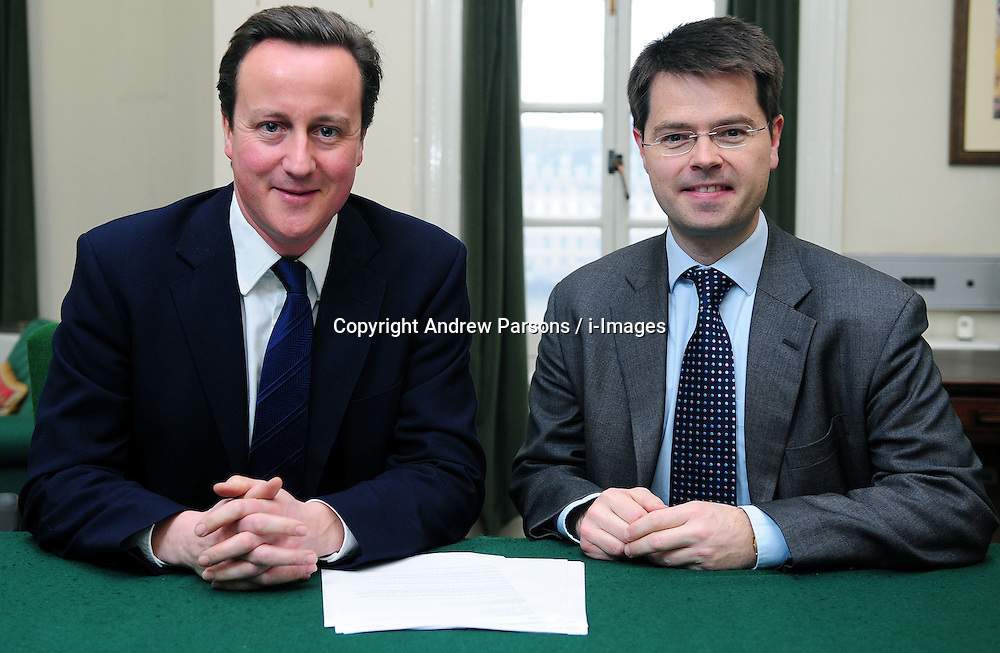Leader of the Conservative Party David Cameron with James Brokenshire, Member of Parliament for Old Bexley and Sidcup in his office in Norman Shaw South, January 5, 2010. Photo By Andrew Parsons / i-Images.