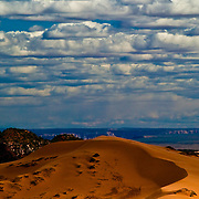 Sand dunes under the clouds, Coral Pink Sand Dunes State Park, Utah