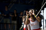 Friday, August 1, 2008; The Go! Team performs at Lollapalooza 2008 featuring Ninja (Nkechi Ka Egenamba) - rapper/vocalist, Ian Parton - electric guitar, harmonica, and drums, Sam Dook - electric guitar, banjo, and drums, Chi Fukami Taylor - drums, vocals, Kaori Tsuchida - vocals, electric guitar, keys, and melodica, Jamie Bell - bass..Photo by Bryan Rinnert