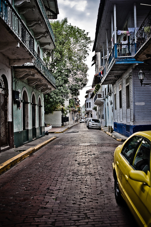 The view down a side street in Casco Viejo.