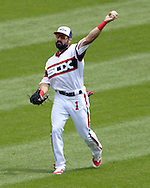 CHICAGO - JUNE 12:  Adam Eaton #1 of the Chicago White Sox throws the baseball toward the infield during the game against the Kansas City Royals on June 12, 2016 at U.S. Cellular Field in Chicago, Illinois.  The Royals defeated the White Sox 3-1.  (Photo by Ron Vesely)    Subject:  Adam Eaton