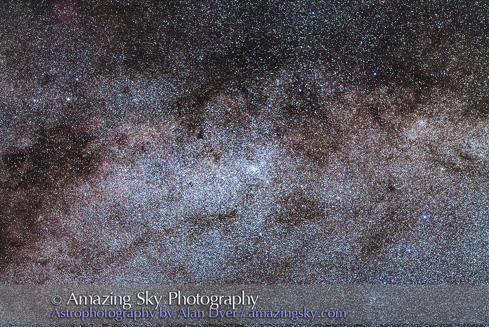 The starcloud, or bright part of the Milky Way, in Norma, with the bright star cluster NGC 6067 at its heart. The field simulates a binocular field. <br /> <br /> This is a stack of 5 x 2-minute exposures with the 200mm lens at f/2.8 and Canon 5D MkII at ISO 1600. Tracked on the AP 400 mount but not guided. Taken from Tibuc Gardens Cottage,
