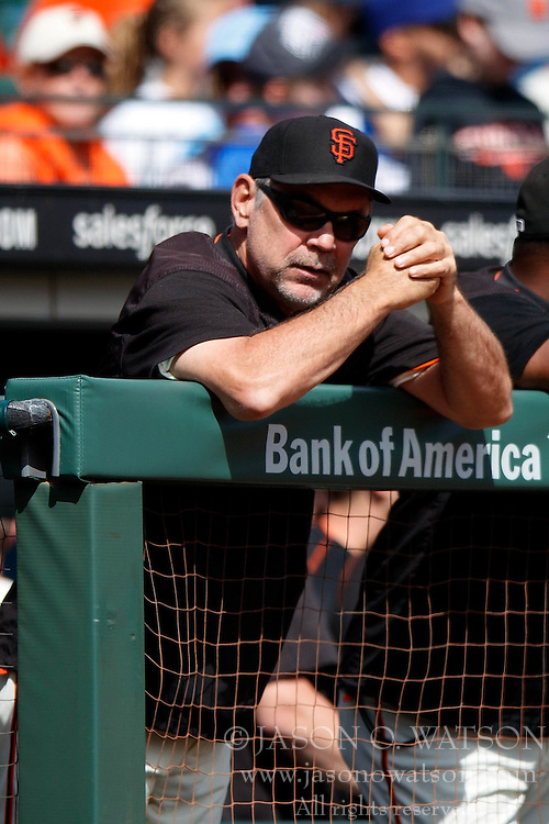SAN FRANCISCO, CA - OCTOBER 02: Bruce Bochy #15 of the San Francisco Giants stands in the dugout during the second inning against the Los Angeles Dodgers at AT&T Park on October 2, 2016 in San Francisco, California. The San Francisco Giants defeated the Los Angeles Dodgers 7-1. (Photo by Jason O. Watson/Getty Images) *** Local Caption *** Bruce Bochy