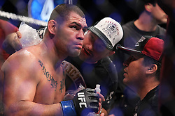 Las Vegas, NV - December 29, 2012: Cain Velasquez gets advice from his corner during his main event bout at UFC 155 at MGM Grand Garden Arena in Las Vegas, Nevada.