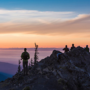 Looking out over the Strait of Juan de Fuca towards Canada in the distance, from Blue Mountain at about 6000 feet elevation, in Olympic National Park at sunset.