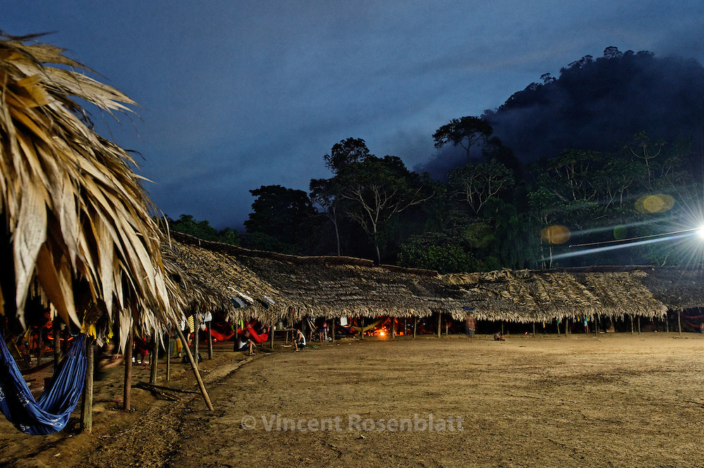 Watoriki, Yanomami village, nightfall.