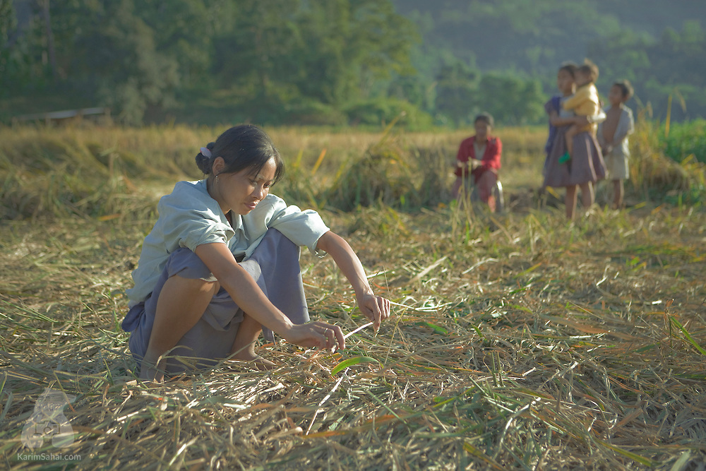 A young woman crouched in a field with her sibblings nearby, Karbi Anglong District, Assam, India