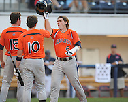 Auburn's Ryan Jenkins (6) hits a three run home run in the third inning vs. Mississippi during a college baseball in Oxford, Miss. on Friday, May 21, 2010. (AP Photo/Oxford Eagle, Bruce Newman)