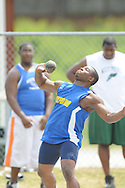 Carl Smith shot puts at the Class 5A District Track Meet at Oxford High School on Thursday, April 22, 2010 in Oxford, Miss.