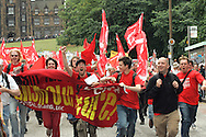 MAKE POVERTY HISTORY RALLY EDINBURGH Protesters in high spirits as they get moving. Picture taken on July 2nd published in the New Statesman 11th July