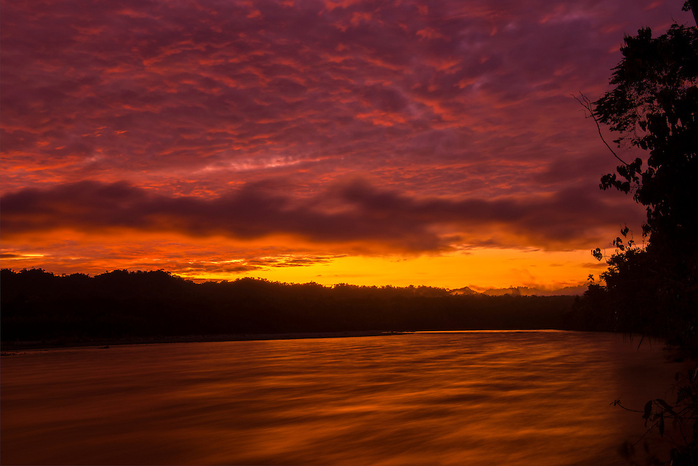 South America, Peru, Amazonia,South Manu National Park , Madre de Dos river at dawn