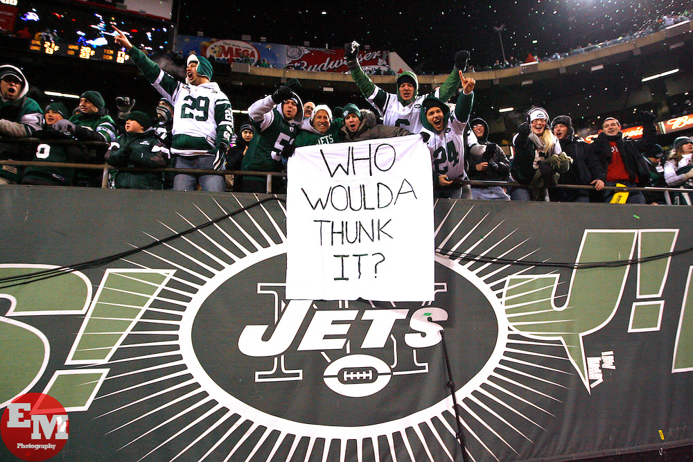 Jan 3, 2010; East Rutherford, NJ, USA; New York Jets fans celebrate after the Jets clinched a playoff spot with a 37-0 win over the Cinncinati Bengals at Giants Stadium.