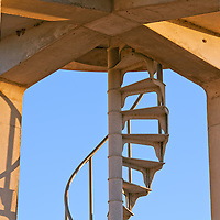A metal spiral staircase in the concrete observation tower in the Shark Valley section of Everglades National Park