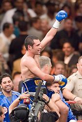 May 6, 2006 - Las Vegas, NV - Oscar DeLaHoya celebrates his victory over Ricardo Mayorga at the MGM Grand Garden Arena.  DeLaHoya captured the title via 6th round TKO.