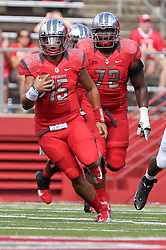 Sept 8, 2012; Piscataway, NJ, USA; Rutgers Scarlet Knights quarterback Gary Nova (15) runs with the ball during the first half at High Point Solutions Stadium.