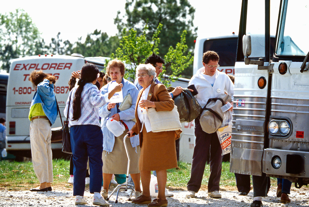 Pilgrims from around the world arrive at the Fowler farm to witness &quot;miracle&quot; readings and sightings from The Virgin Mary. <br />  From October 13, 1990, through October 13, 1998, Conyers, Georgia housewife Nancy Fowler claimed that the Virgin Mary appeared to her and relayed messages to all citizens of the United States. The messages ranged from admonitions to prayers to warnings of war. The Virgin's supposed visits to Conyers, a suburban community about thirty miles east of Atlanta, make Conyers one of the longest-lived Marian apparition sites in the nation.<br /> In the early 1990s the roads to Conyers were clogged with pilgrims yearning to hear Mary's message. They came from every direction, but most were from heavily Hispanic southern Florida. They headed toward a large field adjacent to Fowler's home. Once there, they prayed on Mary's Holy Hill, filled bottles with water from the Blessed Well, or visited the small bookstore on the property.<br /> At midday the pilgrims moved toward Fowler's farmhouse. Inside, Fowler waited for a message from the Virgin Mary in the Apparition Room; outside, members of Our Loving Mother's Children, the volunteer group that organized the Conyers gatherings, led the crowd in song and in prayer. The pilgrims prayed in their native tongues, including English, Spanish, Russian, and Chinese. When Mary's message was broadcast over loudspeakers, the pilgrims raised their rosaries, icons, and petitions heavenward, hoping the items would be blessed by the presence of the Virgin Mary. Some claimed miracles at this site&mdash;rosaries turning to gold, the sun spinning and changing colors, and the scent of rose petals filling the air.