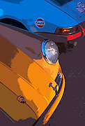 Image detail of two Porsche 911s side by side