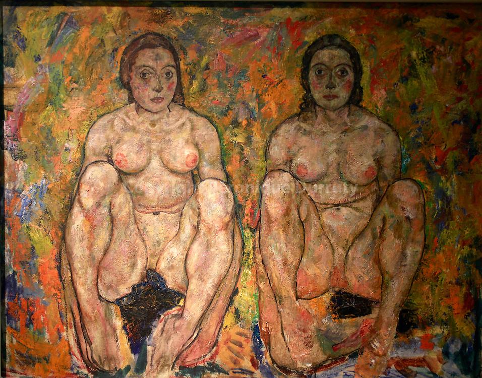 Egon Schiele, Hockendes Frauenpaar, 2 squatting women, 1918, Leopold Museum, Vienna, Austria // Egon Schiele, Hockendes Frauenpaar, 2 femmes accroupies, 1918, Musee Leopold, Vienne, Autriche