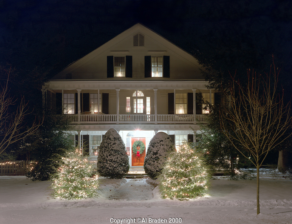 White house decorated for Christmas in Walpole, NH