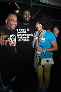 "June 2, 2012- Philadelphia, PA, United States: (L-R) Recording Artist Mace(De La Soul) and Quest?Love(The ROOTS) and Recording Artist Marsha Ambrosious attends the 5th Annual ROOTS Picnic held at Festival Pier at Penn's Landing in Philadelphia, PA . The Roots is an American hip hop/neo soul band formed in 1987 by Tariq ""Black Thought"" Trotter and Ahmir ""Questlove"" Thompson in Philadelphia, Pennsylvania. They are known for a jazzy, eclectic approach to hip hop which includes live instrumentals. (Photo by Terrence Jennings)"