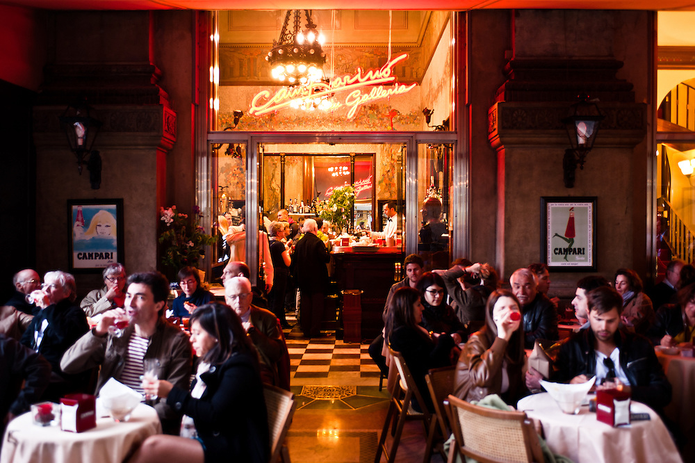 """MILAN, ITALY - APRIL 7: """"Camparino in galleria"""" cafè in Milan on April 7, 2012. It is a historical cafè first opened in 1915 in Galleria Vittorio Emanuele where it's tradition to drink the aperitif with Campari"""