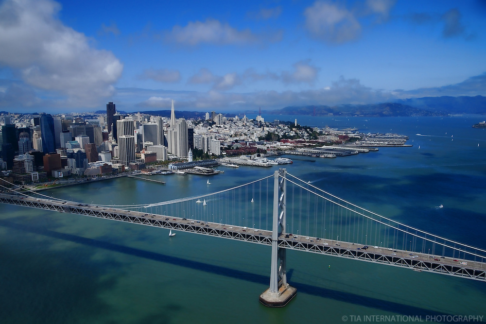 San Francisco-Oakland Bay Bridge with San Francisco Skyline & Marin Headlands (Aerial)