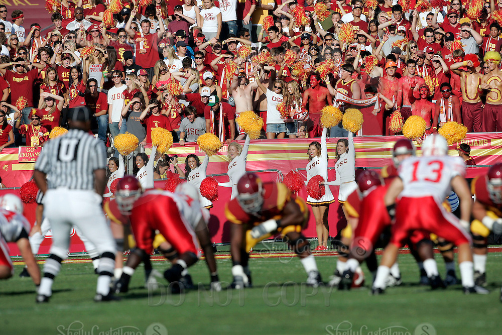 16 September 2006: Cheerleaders and fans cheer on their team in the foreground during USC Trojans college football home opener against the Nebraska Cornhuskers with a 28-10 win over the Big-12 team at the Los Angeles Memorial Coliseum in CA.