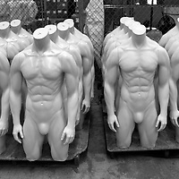 Mannequins manufactured for Nike wait on pallets at Fusion Specialties in Broomfield, Colorado April 28, 2009.  Fusion makes mannequins to order for major designers like Victoria's Secret, Abercrombie & Fitch, Any Taylor and Old Navy.  REUTERS/Rick Wilking (UNITED STATES BUSINESS SOCIETY)