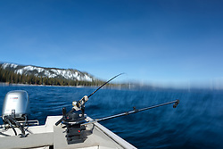 """Fishing Pole at Lake Tahoe 7"" - Photograph of a fishing pole on Lake Tahoe, CA. The seasick motion effect was achieved by using a tripod on the moving boat with a long exposure."