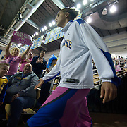 Delaware Forward Elena Delle Donne (11) walks into the arena prior to a regular season NCAA basketball game against James Madison Sunday, Feb 24, 2013 at the Bob Carpenter Center in Newark Delaware..