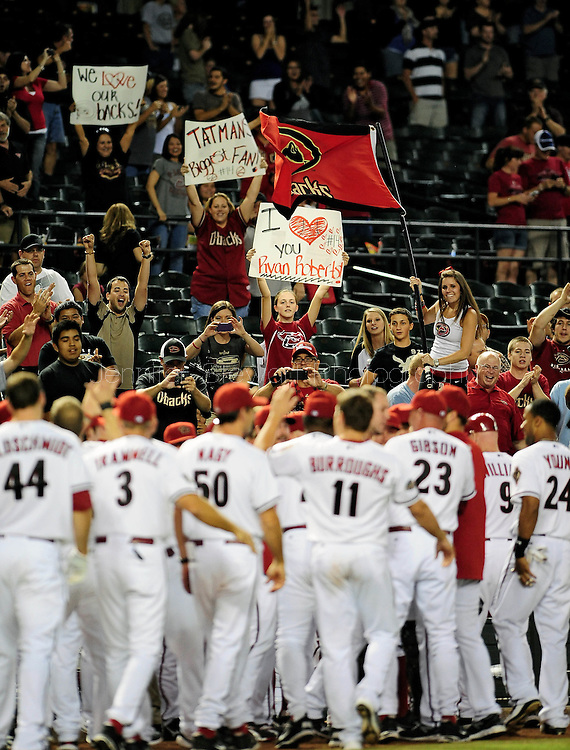 Sep. 27 2011; Phoenix, AZ, USA; Arizona Diamondbacks fans cheer after infielder Ryan Roberts (not pictured) after hits a walk off grand slam during the tenth inning against the Los Angeles Dodgers at Chase Field. The Diamondbacks defeated the Dodgers 7-6 in extra innings.  Mandatory Credit: Jennifer Stewart-US PRESSWIRE.