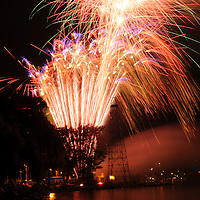 Long exposure of the fireworks display during the Italian festival in Watkins Glen, NY along Seneca Lake.