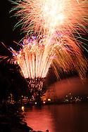 Long exposure of the fireworks display during the Italian festival in Watkins Glen, NY along Seneca Lake.