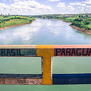The Friendship bridge over Rio Paranà that divides Brazil and Paraguay and the town of Foz do Iguacu and Ciudad del Este