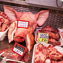 Pig head and other meats, Mercato Centrale, Florence, Italy