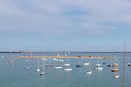 The new breakwater under construction at the entrance to the Medina River in Cowes on the Isle of Wight. The famous club is 200 years old in 2015.<br /> Picture date: Sunday August 16, 2015.<br /> Photograph by Christopher Ison &copy;<br /> 07544044177<br /> chris@christopherison.com<br /> www.christopherison.com