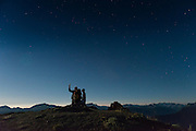 Watching the supermoon, the Perseids, and the Space Station orbiting past, on top of Blue Mountain, Olympic National Park. An amazing place... you can see a 270+ degree view for 120 miles or more, from Bellingham to the east to the west side of Vancouver Island, and up the Strait of Georgia in Canada. To the south/southwest there's a 120 degree panorama of the Olympic Mountains.