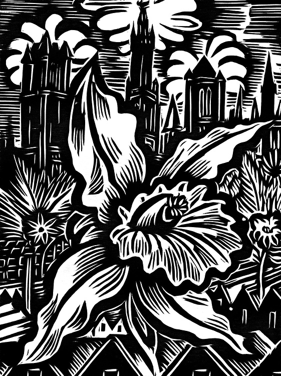 A black / white drawing of a flower city