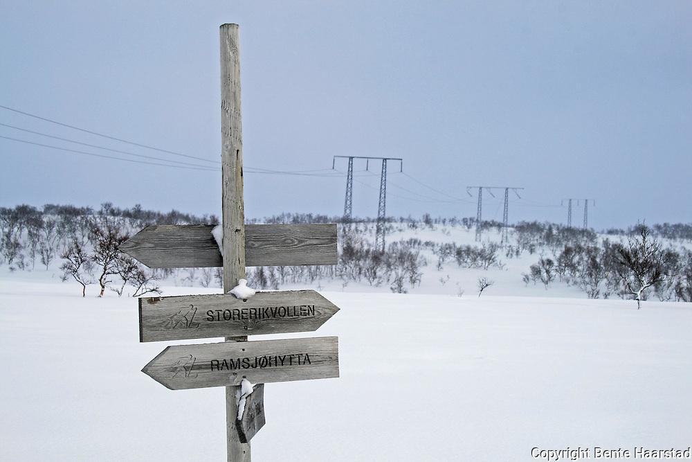 Electric power suppy between Norway and Sweden.<br /> Svenska Kraftn&auml;t og Statnett har erstatte denne 300 kilovolts-linjen med en kraftigere utgave, som kan f&oslash;re hele 420 kilovolt. P&aring; strekningen Nea i Tydal til J&auml;rpest&ouml;mmen i J&auml;mtland. Selv de gamle mastene fortoner seg som monstermaster i den rette vinkelen.